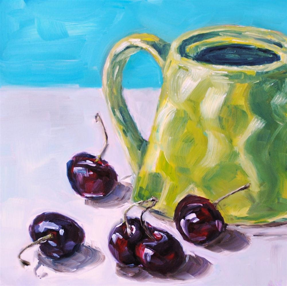 """Cherries and the Lime Teapot"" original fine art by Alison Kolkebeck"