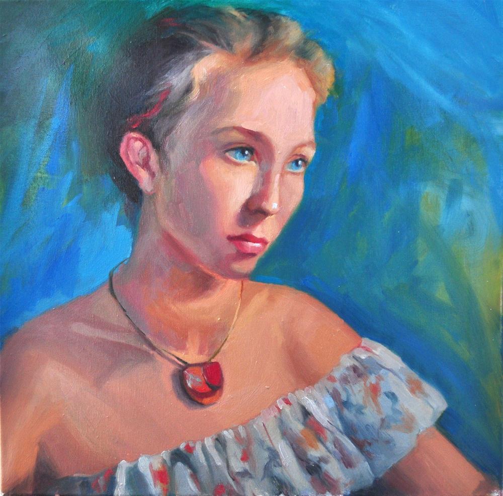 """Nostalgia"" (portret of Julia) 20x20 oil on linen original fine art by Emiliya Lane"
