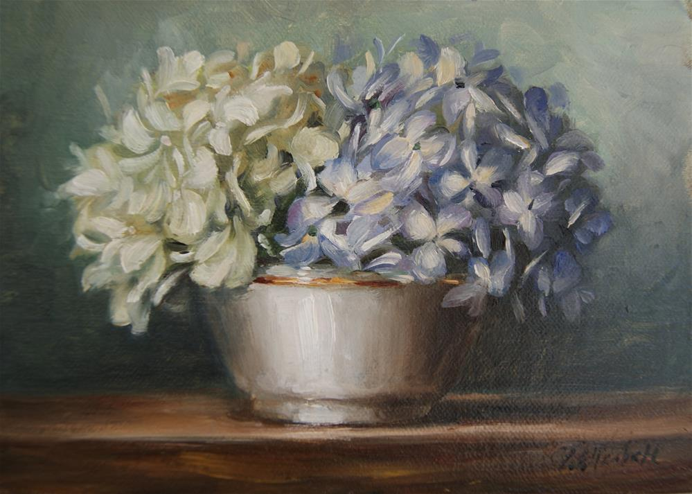 """Still Life With Blue and White Hydrangeas in Porcelain Bowl,  Oil on 5x7 Linen Panel"" original fine art by Carolina Elizabeth"
