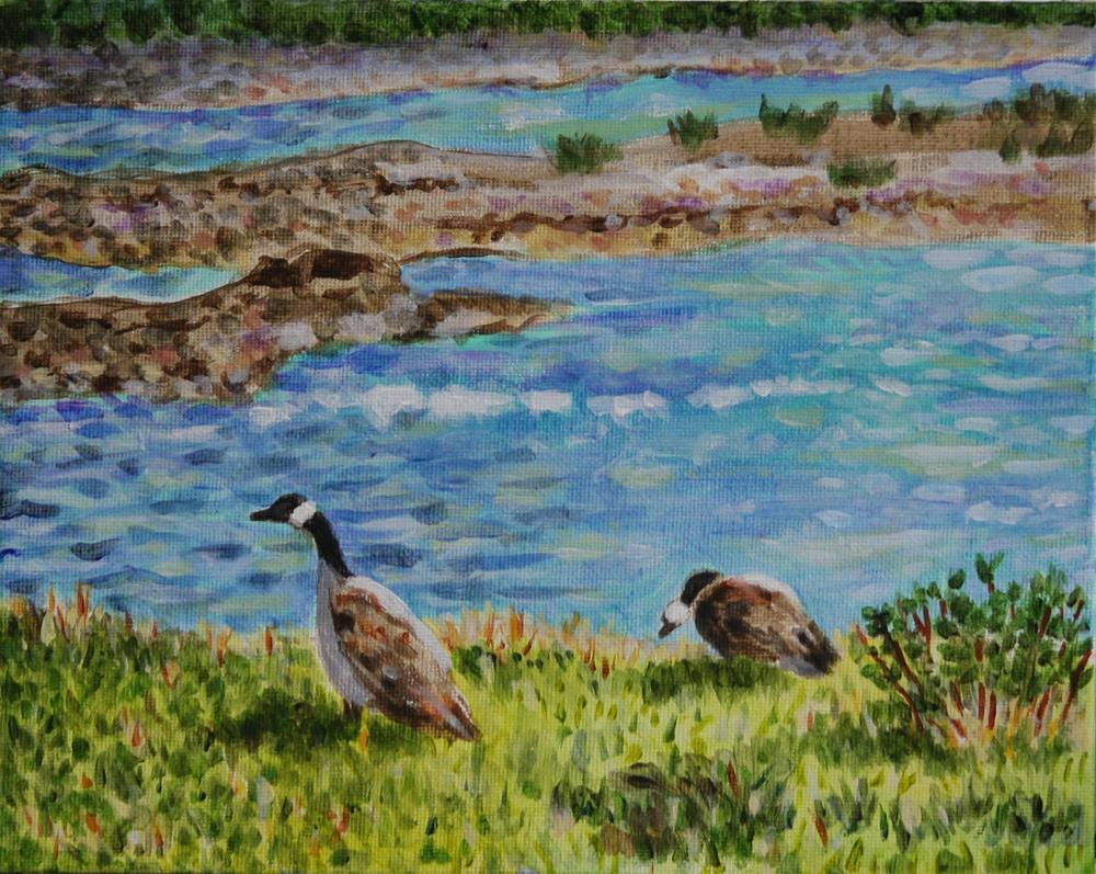 """Canada Geese on the Athabasca River"" original fine art by Terri-Anne Barge"