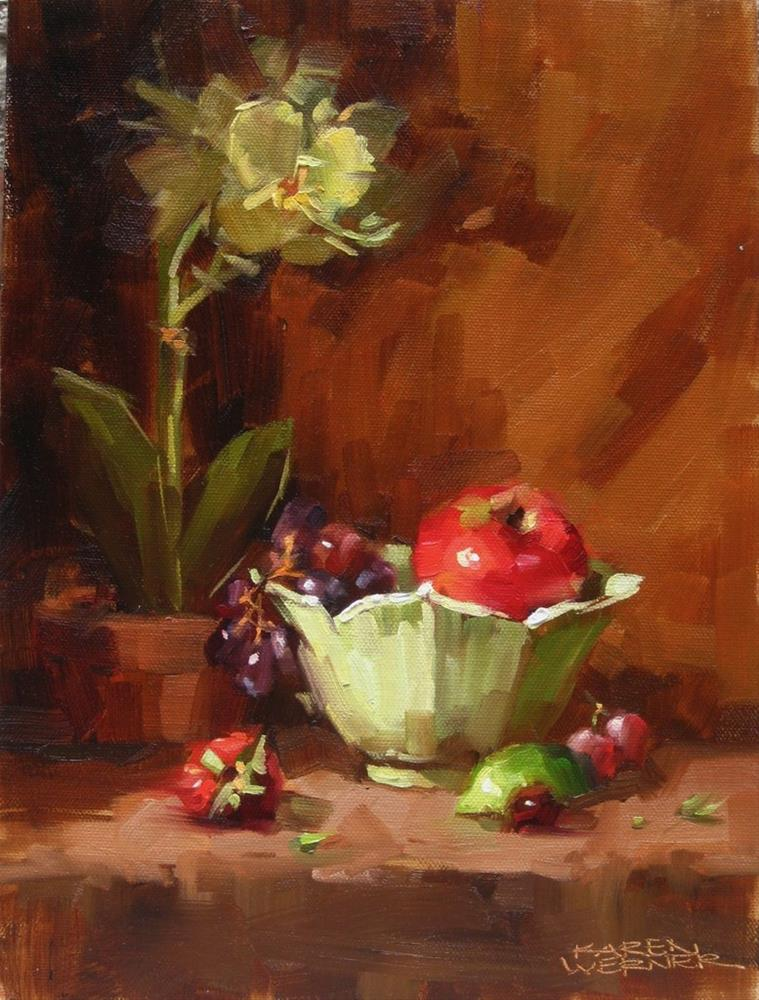 """Bowl With Orchid"" original fine art by Karen Werner"