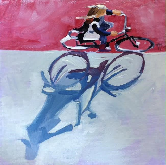 """Bike Shadows No.2"" original fine art by Teddi Parker"