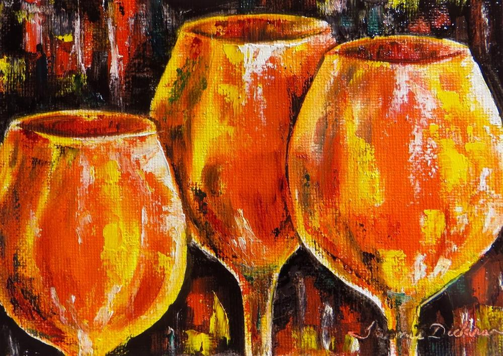 """Red Hot Wine Glasses"" original fine art by Tammie Dickerson"