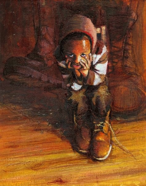 """The Little Prodigal (Moment of misery)"" original fine art by Adebanji Alade"