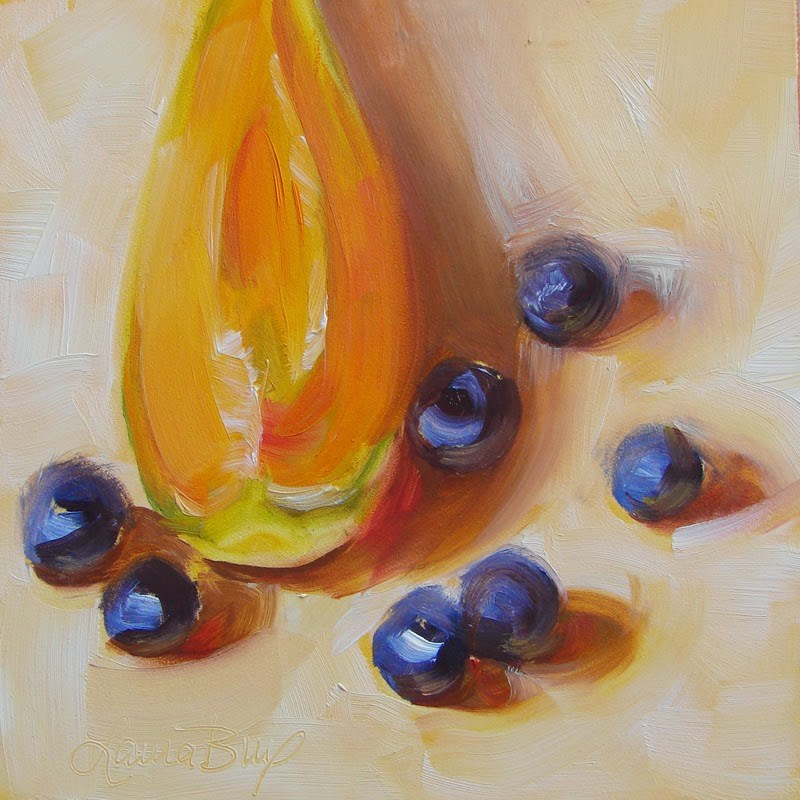 """Blueberries and Melon 236"" original fine art by Laura  Buxo"