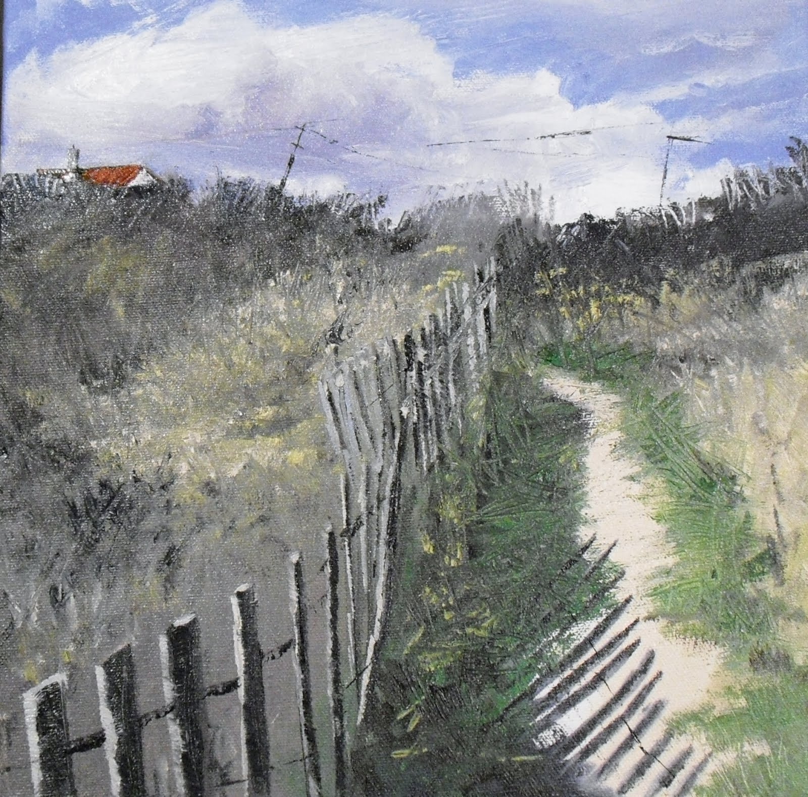 """Winter Path at  East Hampton Beach ~ 12x12 ~ oil on Canvas"" original fine art by Vincenza Harrity"
