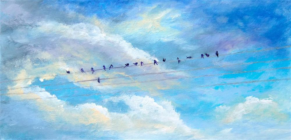 """3254 - Bird on a Wire"" original fine art by Sea Dean"