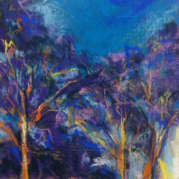 """PURPLE TREETOPS - 8 x 8 pastel by Susan Roden"" original fine art by Susan Roden"