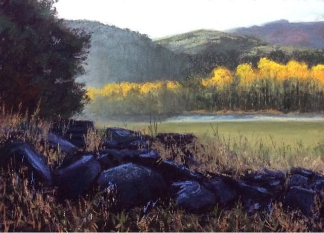 """SHORELINE FLAMES"" original fine art by Marti Walker"