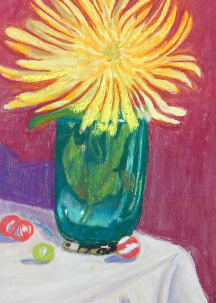 """""""Single Yellow Bloom in Green Vase with Marbles"""" original fine art by Elaine Shortall"""