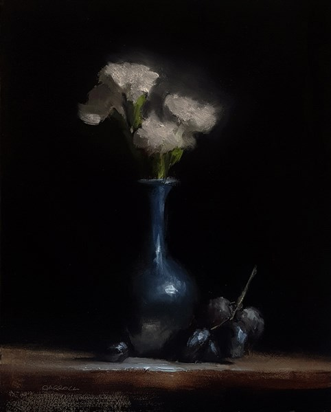 """""""Bud Vase with Flowers and Grapes"""" original fine art by Neil Carroll"""