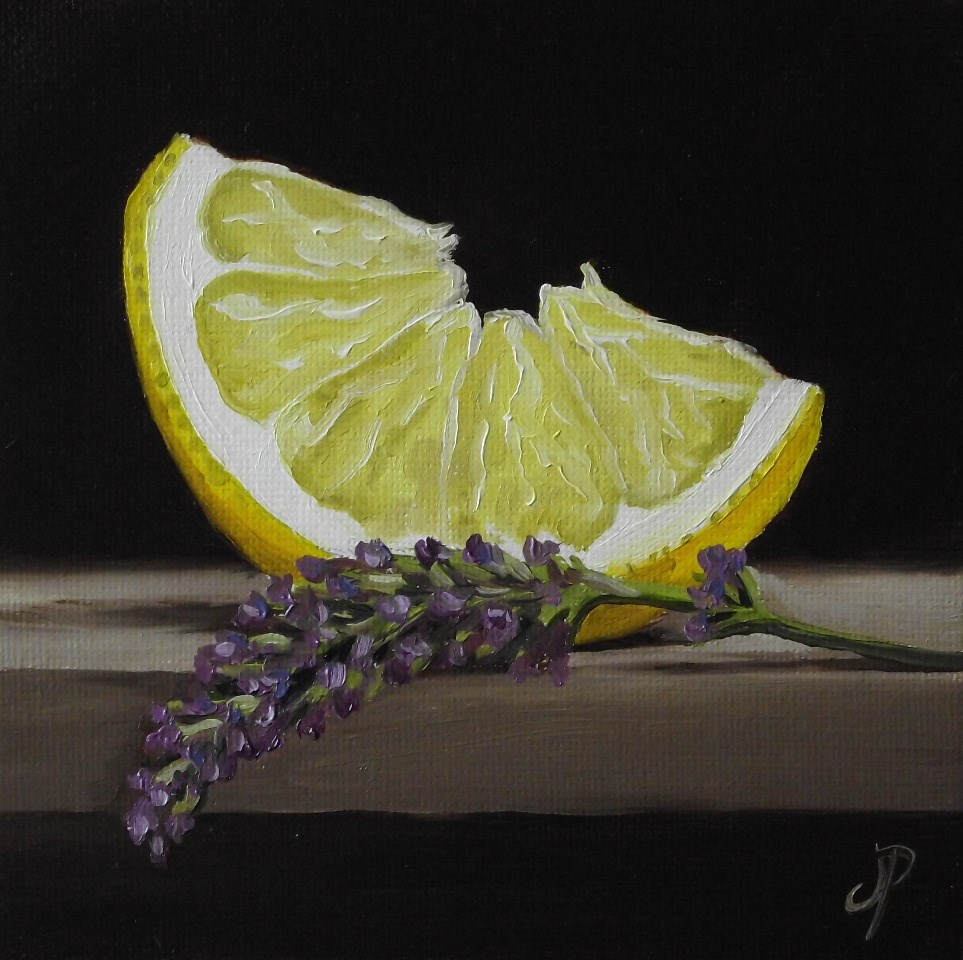 """Lemon with Lavender"" original fine art by Jane Palmer"