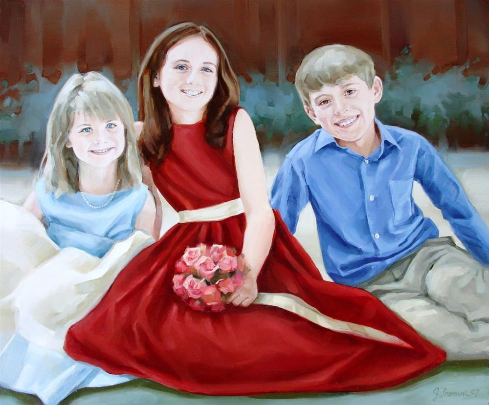 """Caroline, Lindsey, and Peter"" original fine art by Jeannette Fromm"
