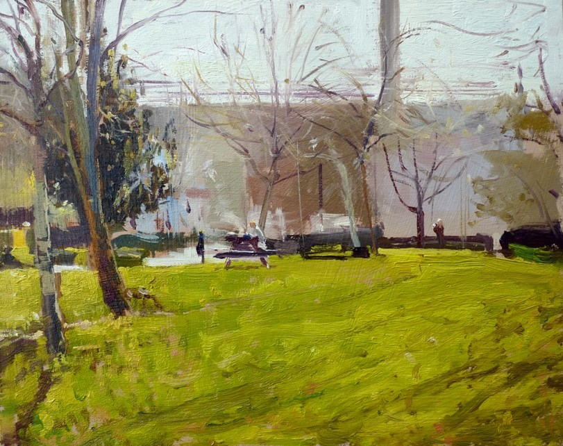 """Spring Morning Light, Westfield Park"" original fine art by Adebanji Alade"
