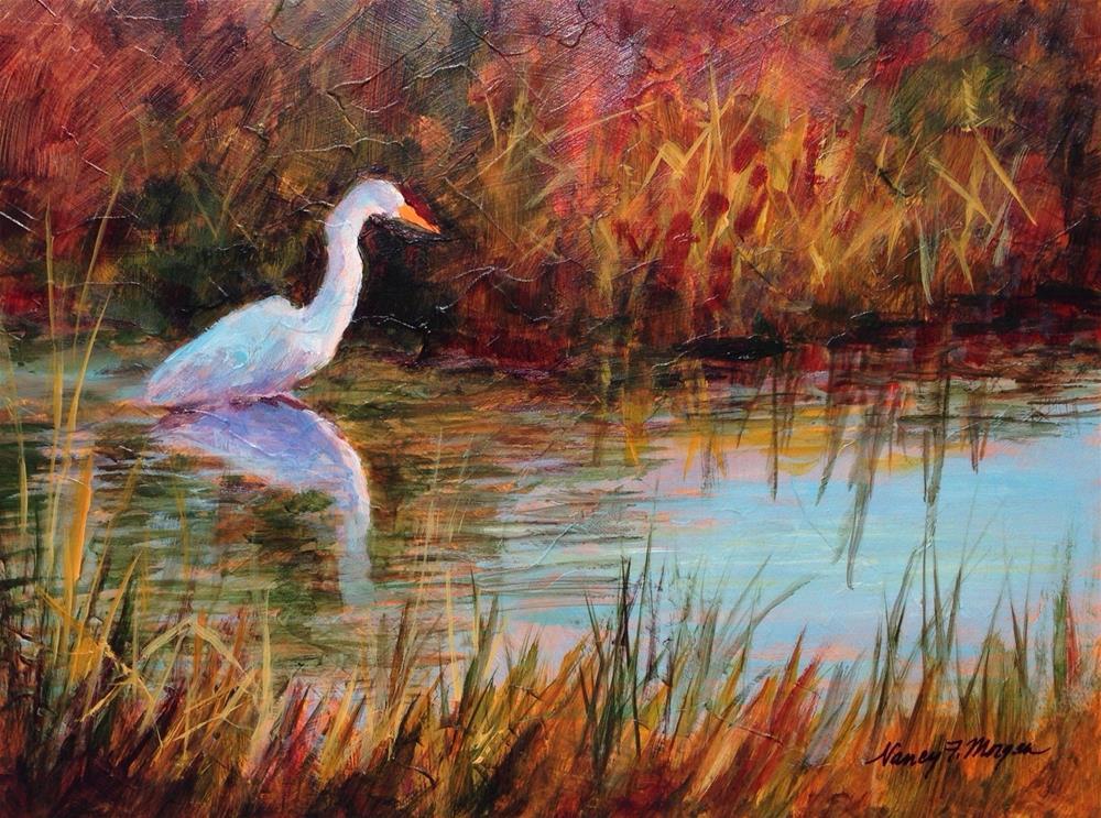 """Egret's Reflection"" original fine art by Nancy F. Morgan"