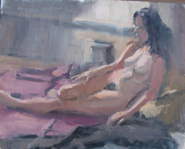 """ Nude Figure Recline"" original fine art by Michael McConnell"