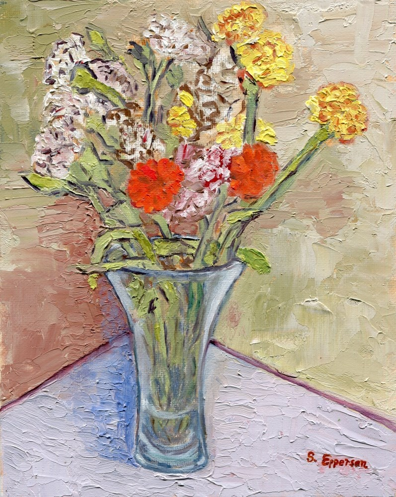 """Flowers in Crystal Vase"" original fine art by Stanley Epperson"