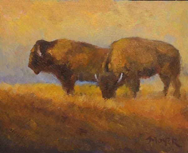 """Buffs at dusk"" original fine art by Jim Moyer"
