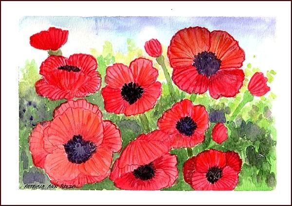 """Red Poppies"" original fine art by Patricia Ann Rizzo"