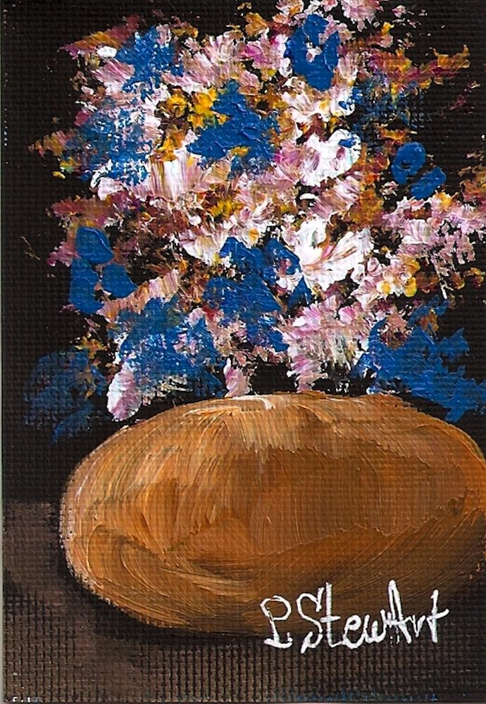 """""""ACEO, Acrylic Gold Pot with Bouquet of Flowers Original, Impressionistic Style"""" original fine art by Penny Lee StewArt"""
