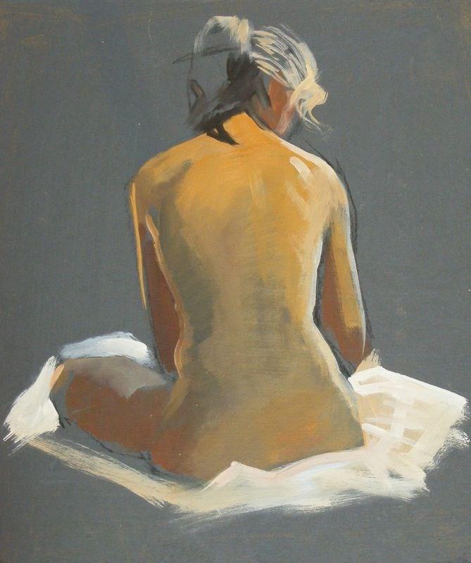"""Nude back sketch"" original fine art by Peter Orrock"