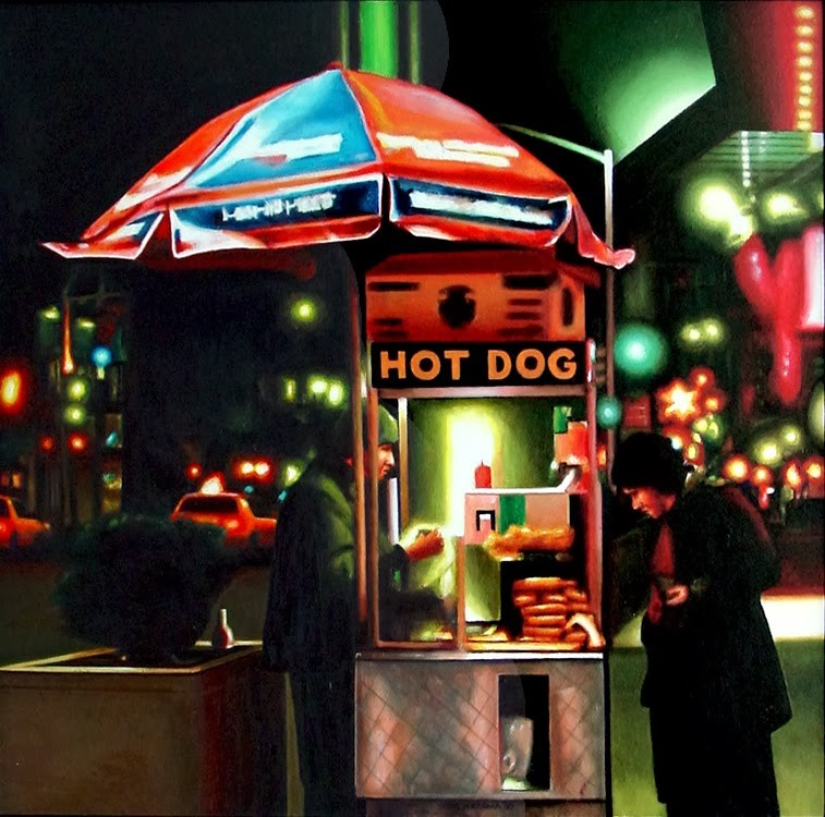 """Hot Dog- New York Nocturnal Street Scene Of Woman Treating Herself To Hot Dog"" original fine art by Gerard Boersma"