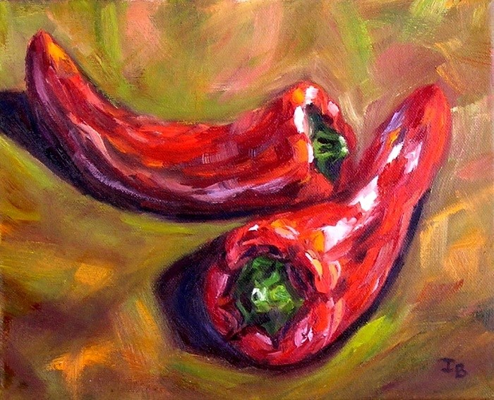 """Two Peppers"" original fine art by Irina Beskina"