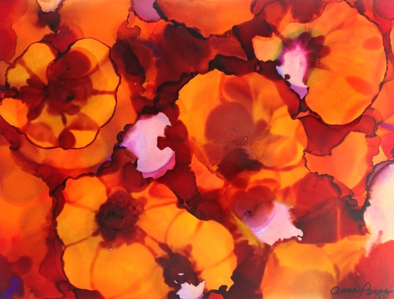 """Red and Orange Pansies"" original fine art by Anna Penny"