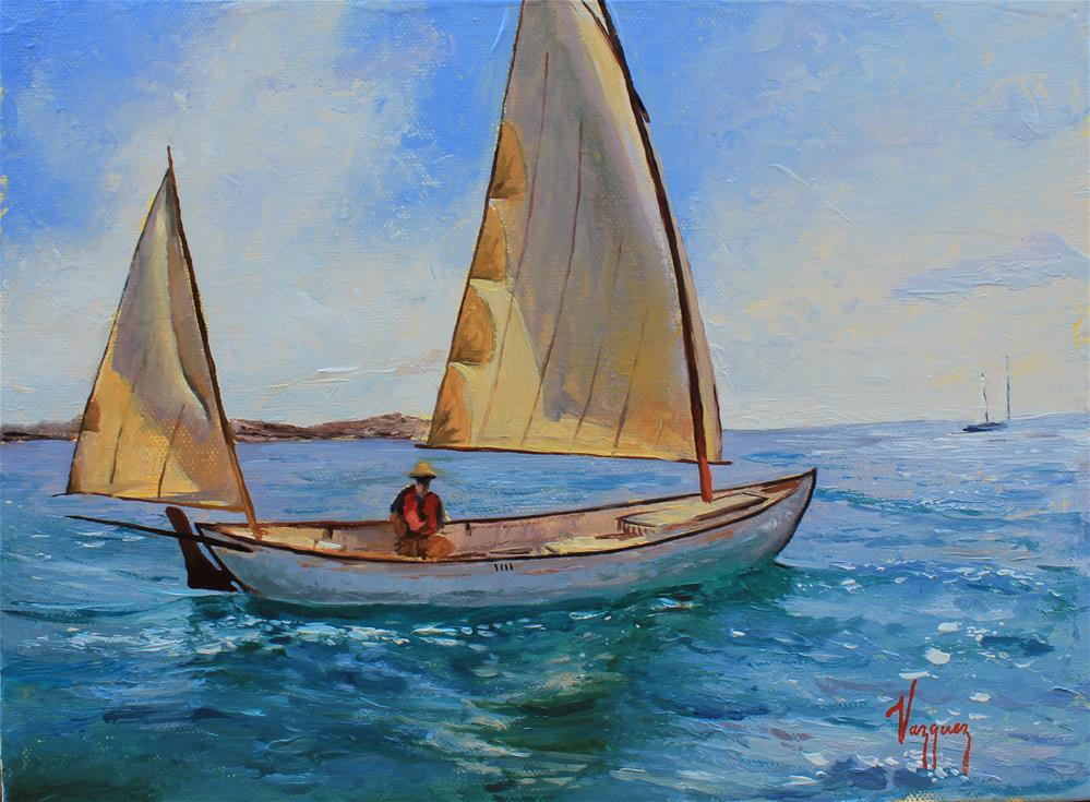 """Sailing on emerald waters "" original fine art by Marco Vazquez"