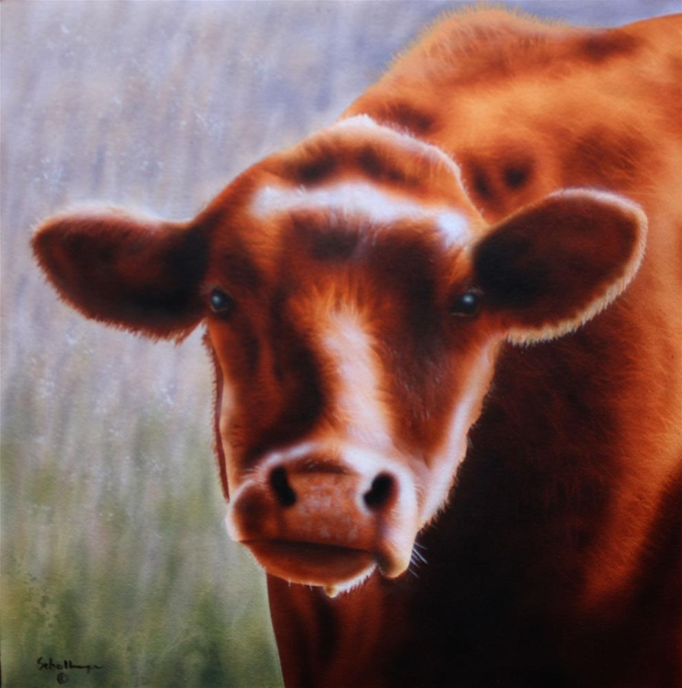 """How Now Burnt Sienna Cow?"" original fine art by Fred Schollmeyer"