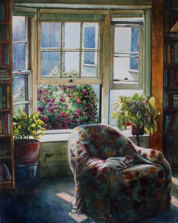 """Watercolor: Reading Room"" original fine art by Belinda Del Pesco"