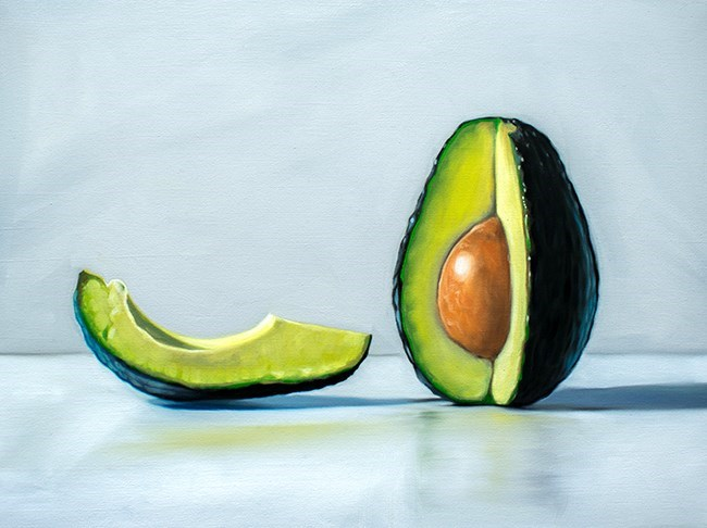 """Quarter Sliced Avocado"" original fine art by Lauren Pretorius"