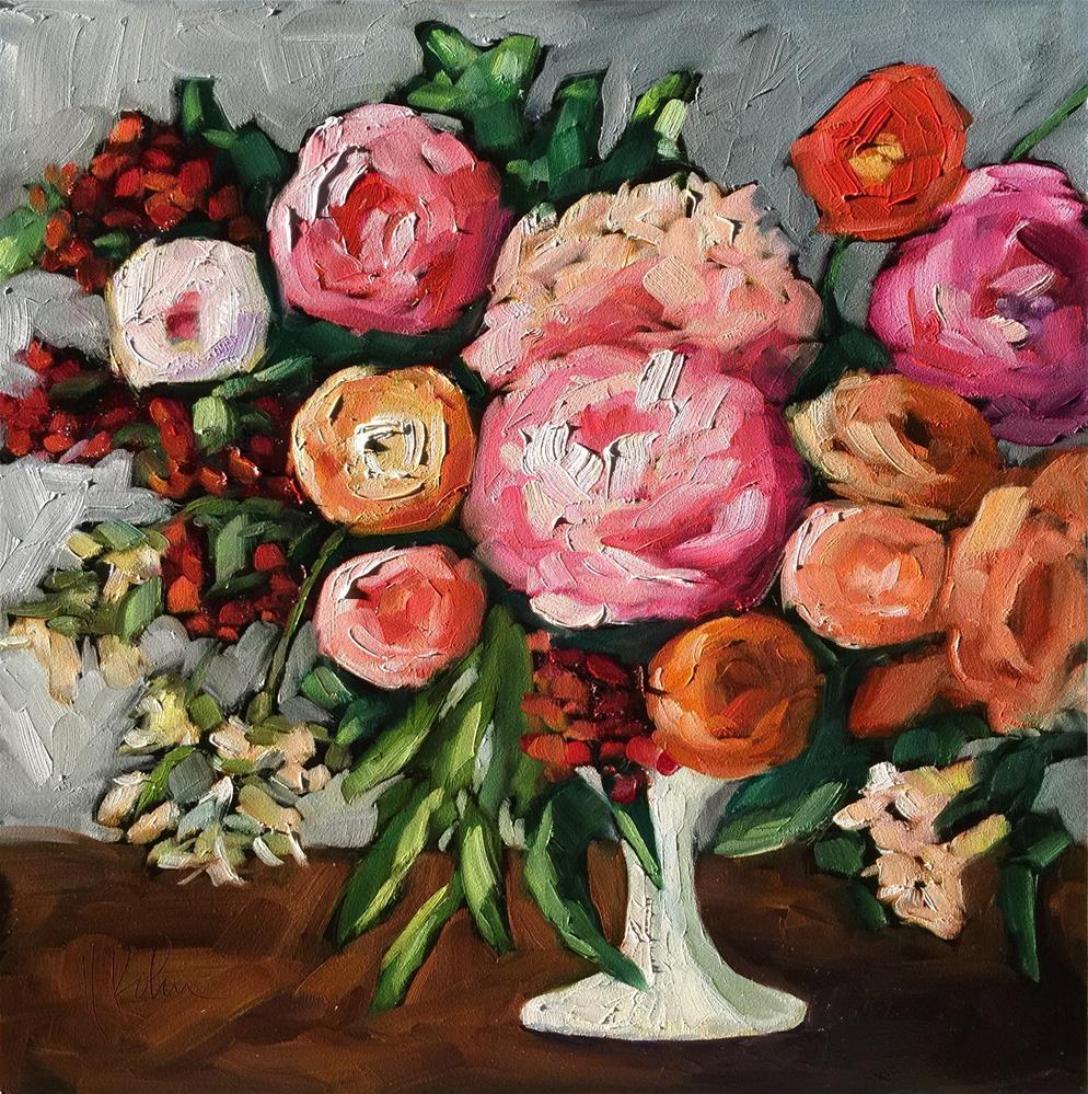"""""""Flowers in White Vase"""" original fine art by Hallie Kohn"""
