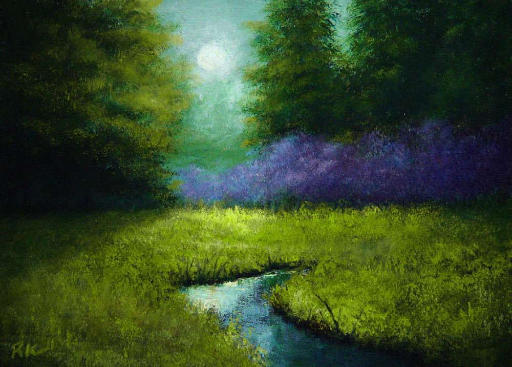 """The Purple Trees"" original fine art by Bob Kimball"