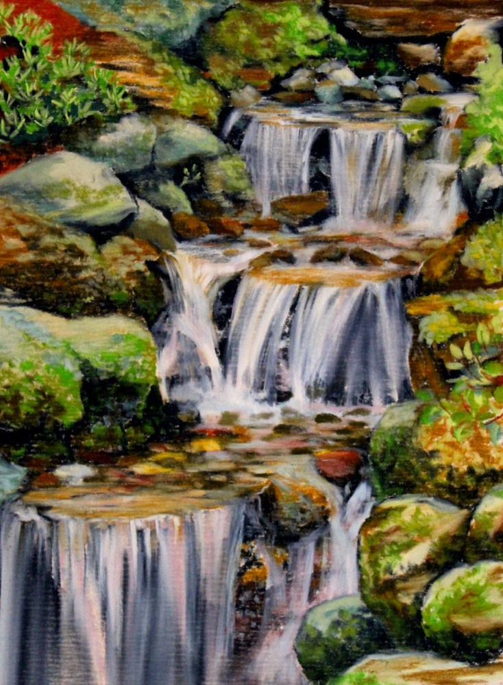 """Falls of Nimrodel"" original fine art by Jill Bates"