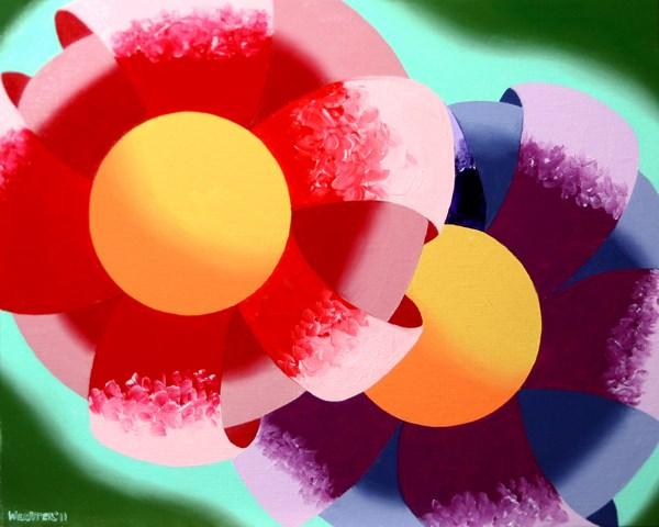 """Mark Adam Webster - Abstract Rough Futurist Flowers Oil Painting"" original fine art by Mark Webster"