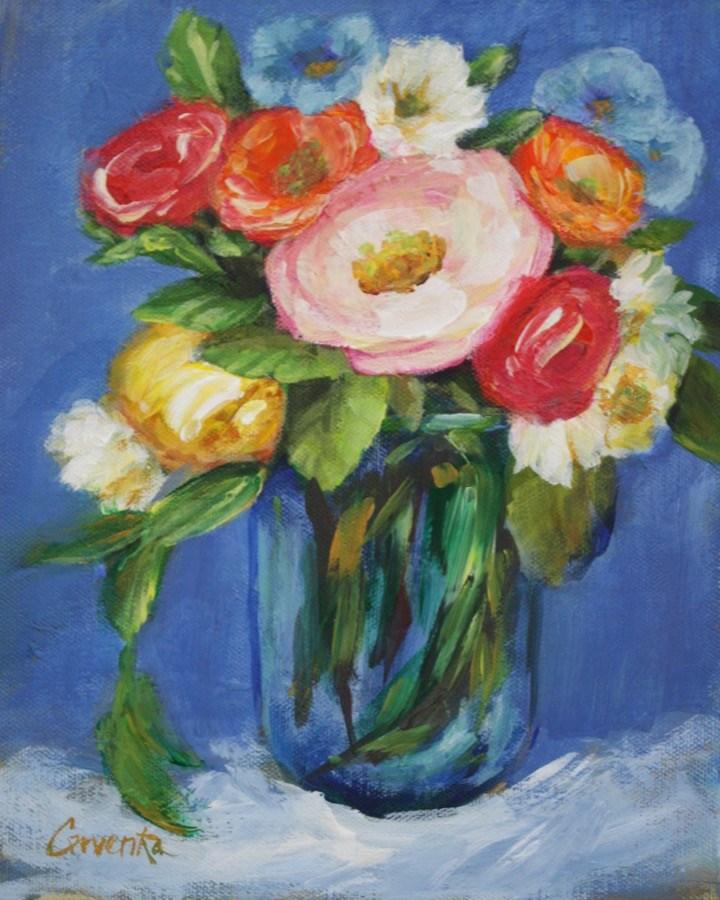 """Posy in Blue Glass"" original fine art by Sue Cervenka"