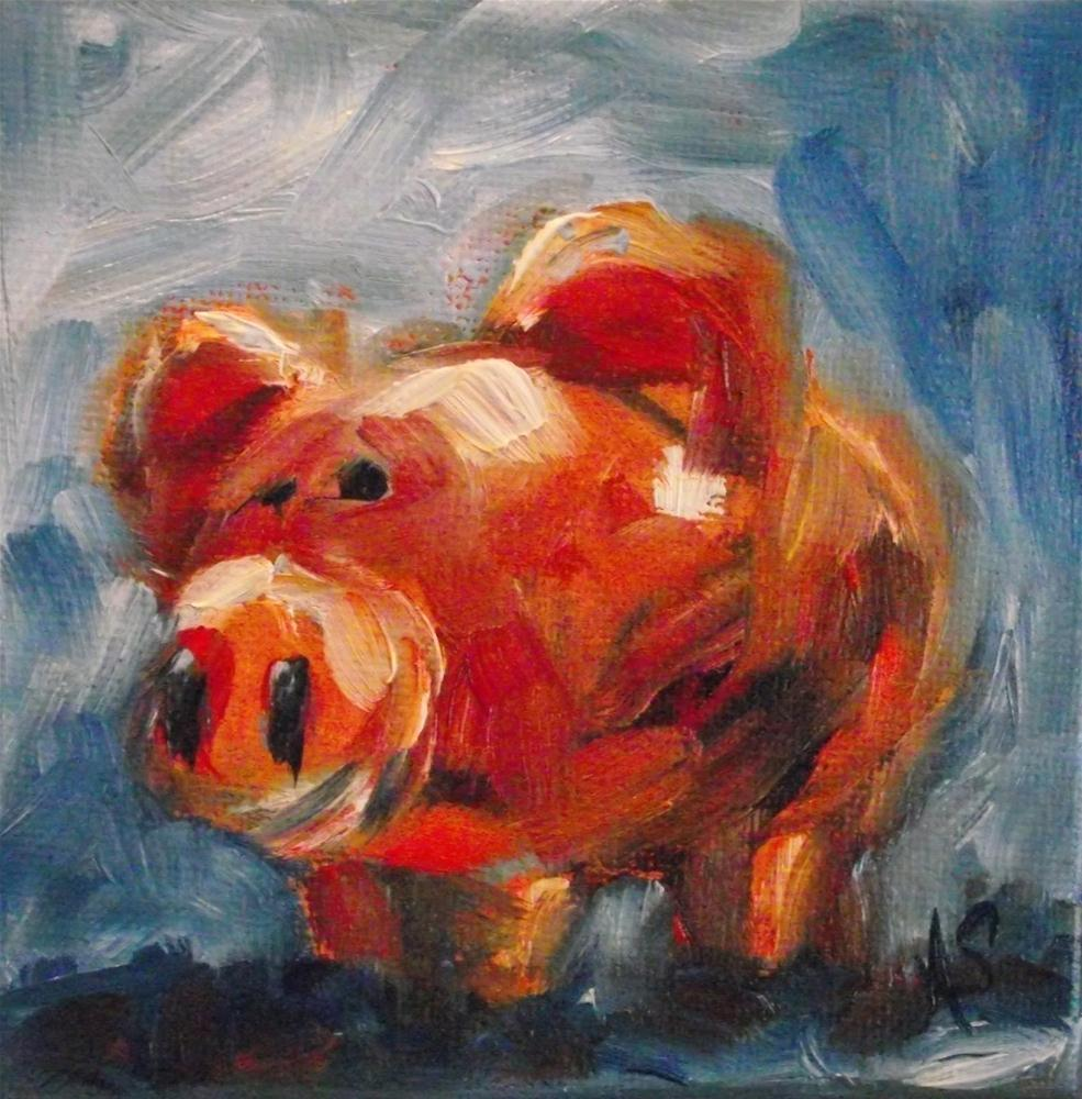 """Red Pig"" original fine art by Angela Sullivan"