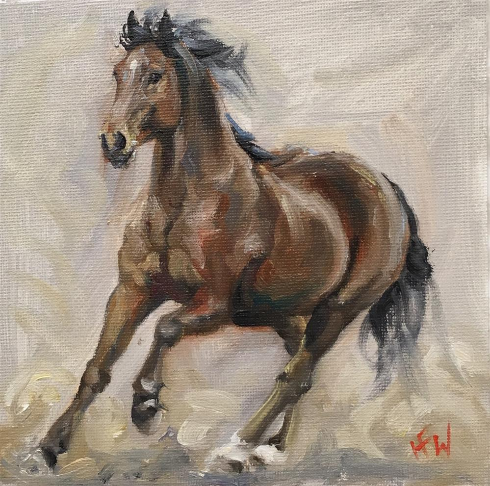 """Bay Mare"" original fine art by H.F. Wallen"