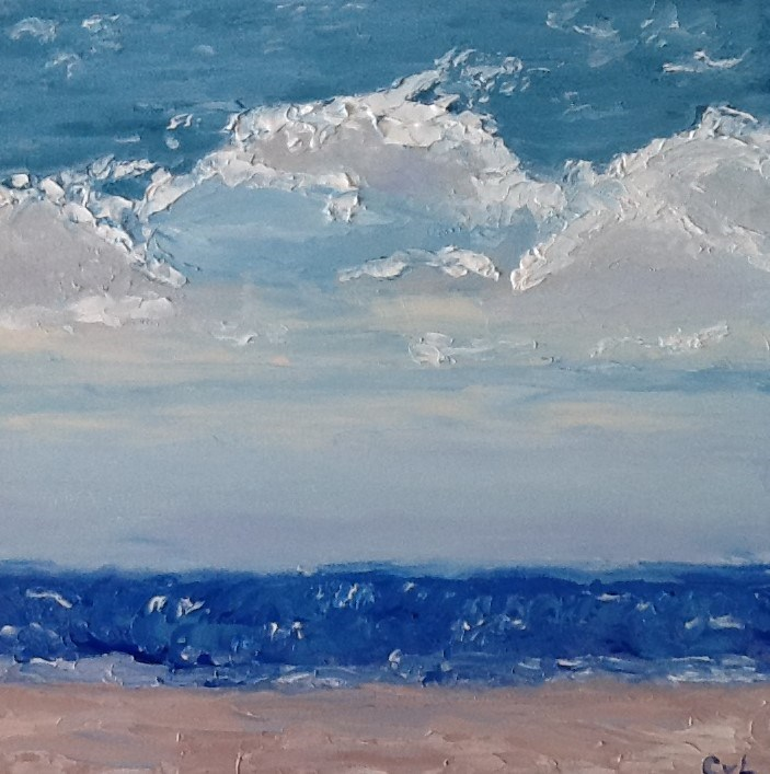 """Cloudy beach"" original fine art by Conny van Leeuwen"
