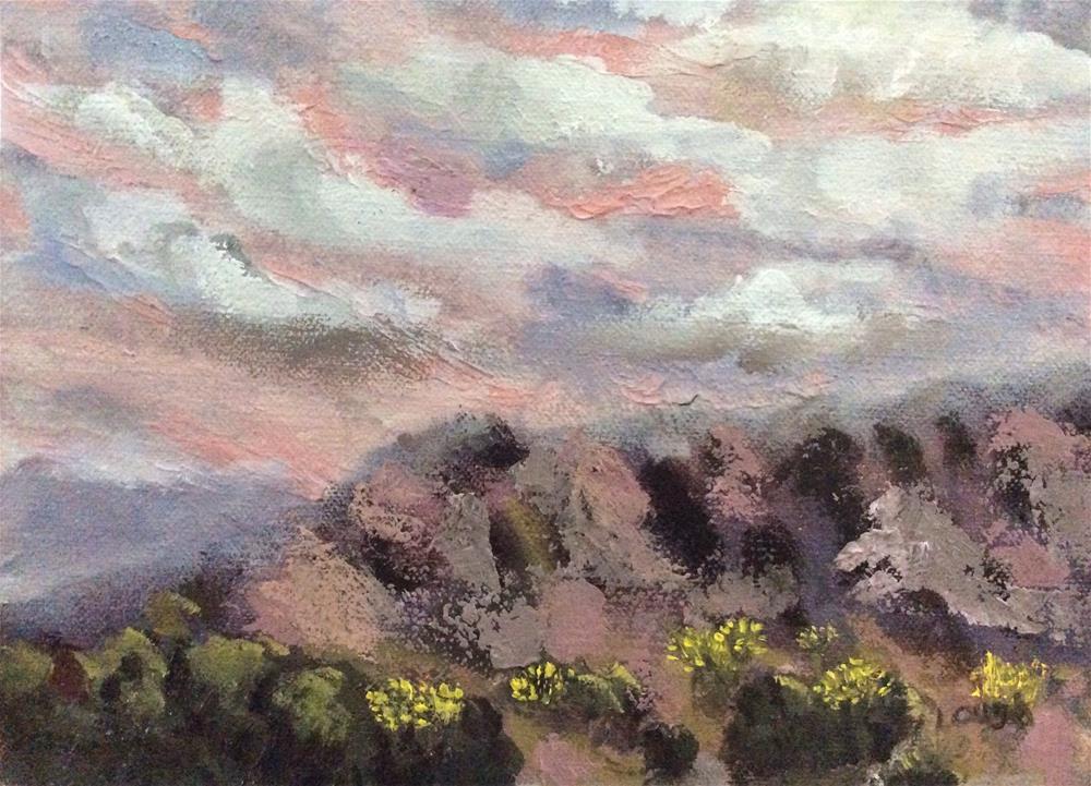 """Sunrise over the Sandias"" original fine art by Charlotte Lough"