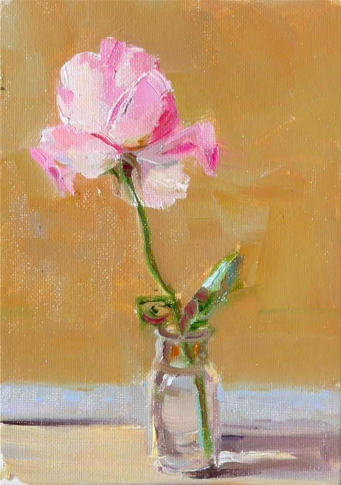 """A Single Rose,still life,oil on canvas,7x5,price$175"" original fine art by Joy Olney"