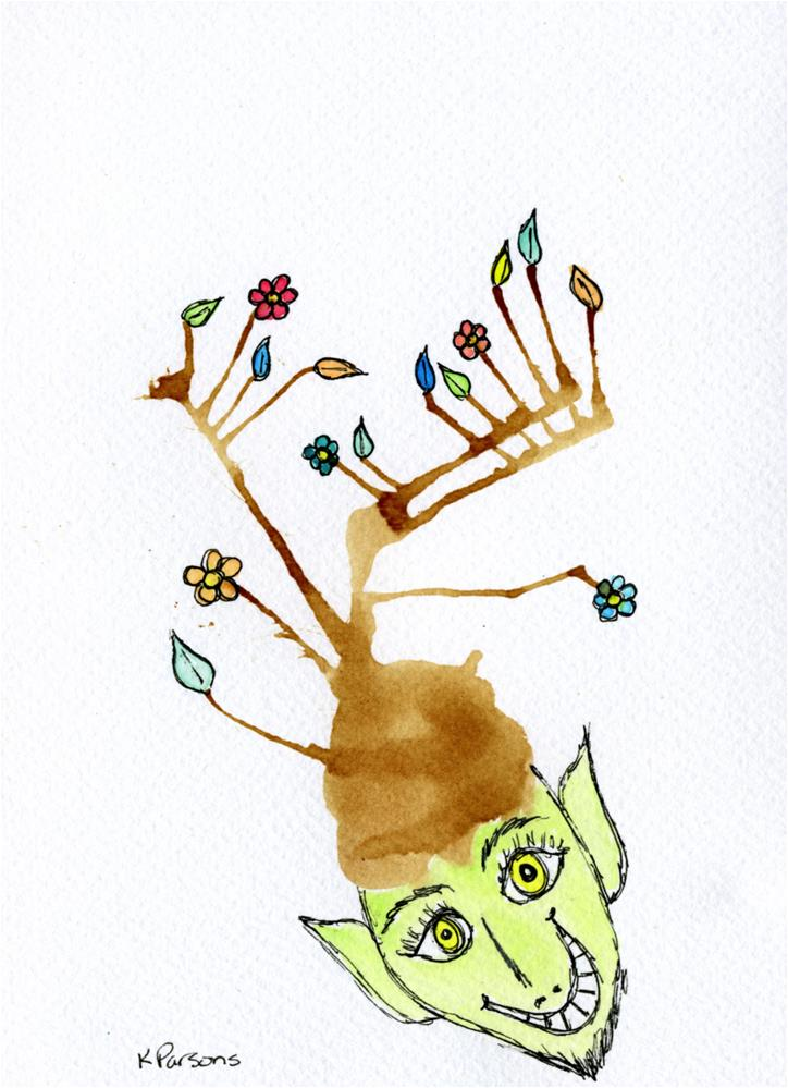 """Wee Little Elf with a Flowered Hat"" original fine art by Kali Parsons"