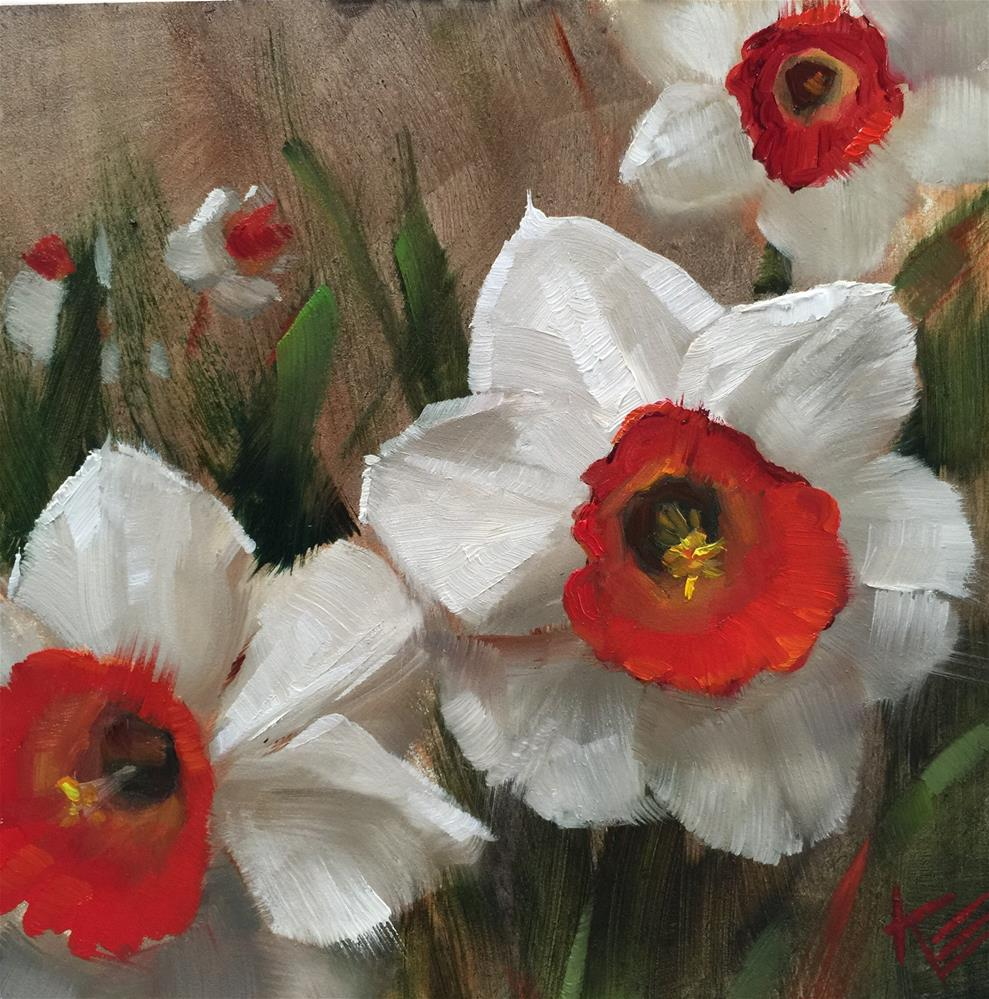 """White and Red Daffodils"" original fine art by Krista Eaton"