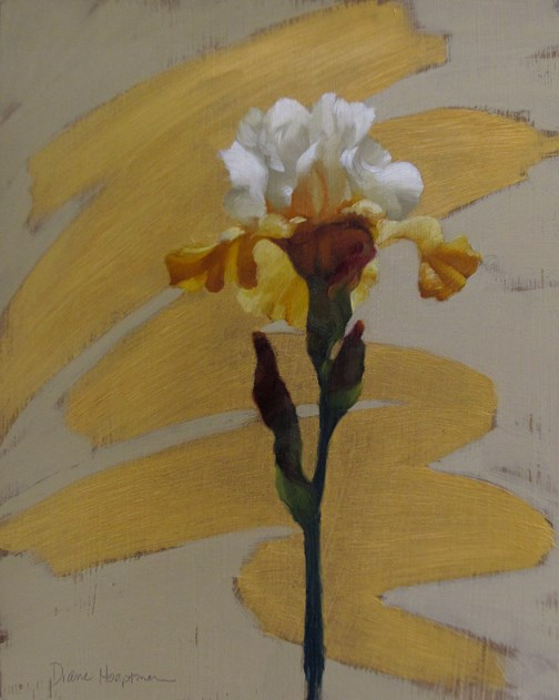 """Modern Iris I, going bold with gold!"" original fine art by Diane Hoeptner"