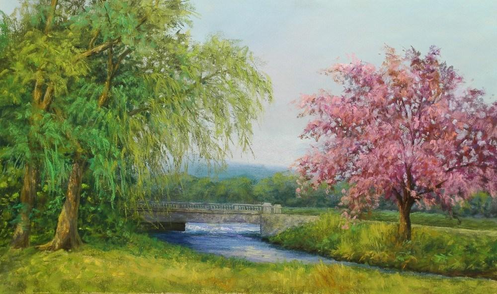 """""""Spring On the River"""" original fine art by Susan Klabak"""