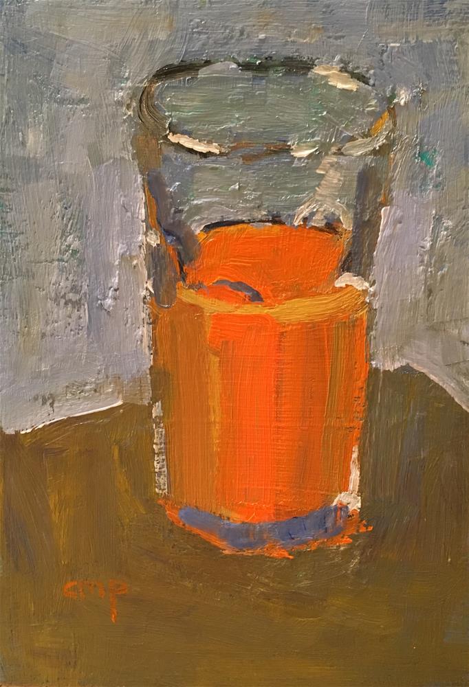 """Orange Juice in Glass"" original fine art by Christine Parker"