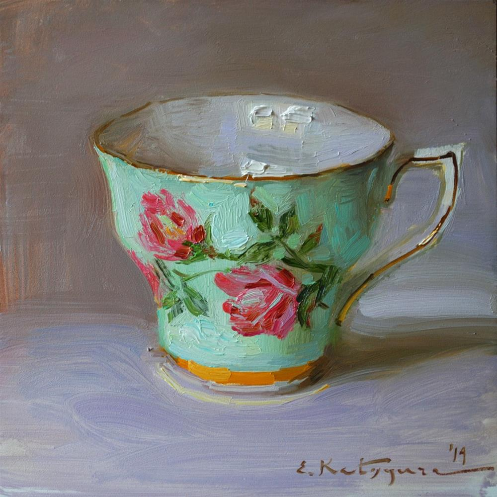 """Turquoise Teacup"" original fine art by Elena Katsyura"
