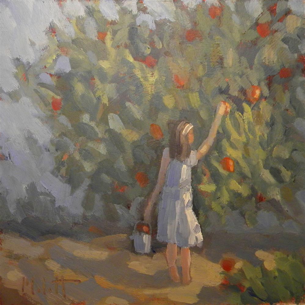 """Girl Picking Apples in Orchard Daily Painting Heidi Malott"" original fine art by Heidi Malott"