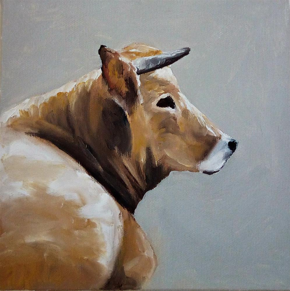 """Sitting Cow"" original fine art by Laura B."